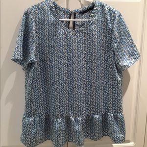 Zara Ladies Short Sleeved Peplum Blouse Size XL